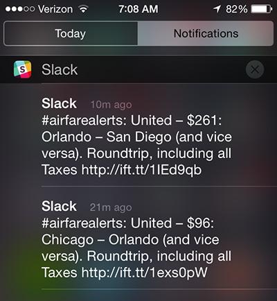 Airfare alerts